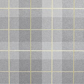 Heritage Tartan Ochre Grey italiensksværvægt vinyl arthouse paste the wall