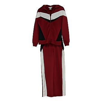 Masseys Set Frauen's Retro Track Hose & Jacke Set Granatapfel rot