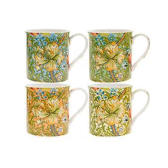 Golden Lily Mugs (Set of 4)