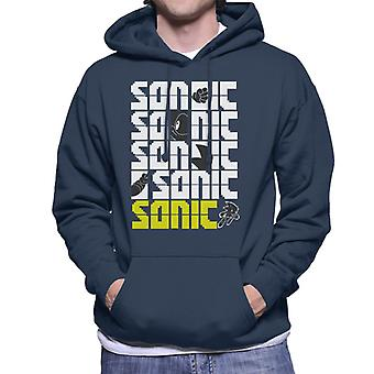 Sonic The Hedgehog Sonic The Hedgehog Pixel Slogan Men's Hooded Sweatshirt