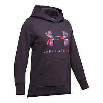Under Armour Rival Print Fill Logo Over Head Kids Hoodie Hoody Jacket Purple