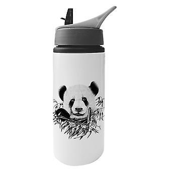 Eating Panda Aluminium Water Bottle With Straw