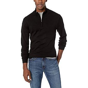 Goodthreads Men-apos;s Merino Wool Quarter Zip Sweater, Noir, Petit
