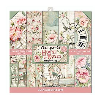Stamperia House of Roses 8x8 Tommer Papirpakke