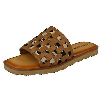 Ladies Leather Collection Leopard Print Sliders F00341
