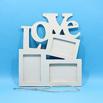 Durable Lovely Hollow Love Wooden Family Photo Picture Frame - White Base Art