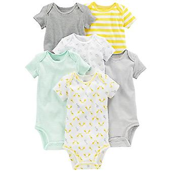 Simple Joys by Carter's Baby 6-Pack Neutral Short-Sleeve Bodysuit, Gray/Yello...