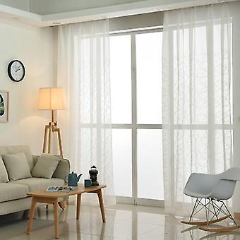 Modern Geometry White Embroidery Tulle Curtains For Living Room