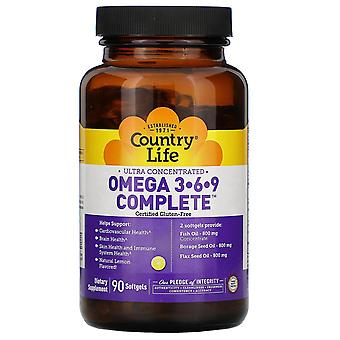 Country Life, Ultra Concentrated Omega 3-6-9 Complete. Natural Lemon, 90 Softgel