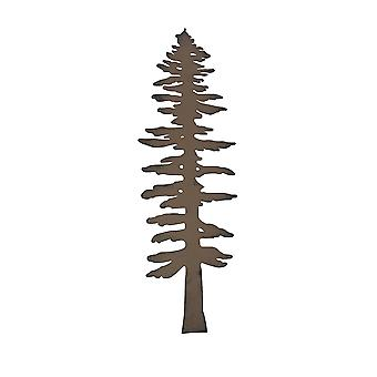 Rustic Brown Finished Metal Pine Tree Wall Sculpture 20 Inches High
