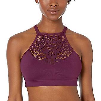 Merk - Mae Women's Seamless Hi-Neck Bralette, Potent Purple, Medium