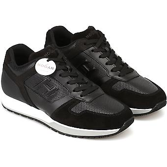 Hogan Men's fashion round toe sneakers shoes in black leather with white sole