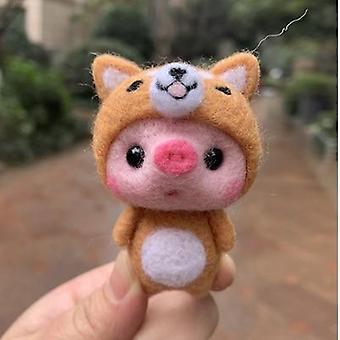 Lovely Pig Handmade Toy Doll Wool Felt Poked Kitting Non-finished Wool Felting For Kids