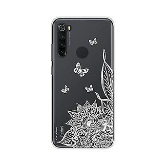 Hülle für Xiaomi Redmi Note 8 Weiche Mandala Blume Und Schmetterlinge Weiß