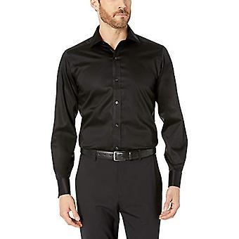 KNAPPET NED Men's Skræddersyet Fit fransk Cuff Micro Twill Ikke-Jern Kjole Shirt ...
