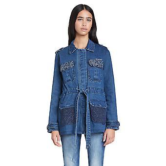 Desigual Mizuki Blue Denim Belted Parka Jacket with Knit Back 20WWED10
