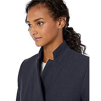 Brand - Daily Ritual Women's Wool Blend Belted Coat, Navy Herringbone 4