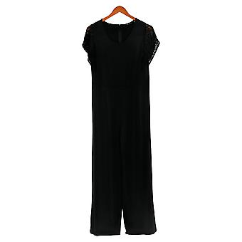 H By Halston Jumpsuits Wide-Leg Met Lace Sleeves Black A354286