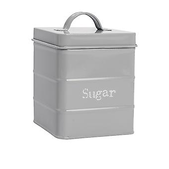 Industrial Sugar Canister - Vintage Style Steel Kitchen Storage Caddy with Lid - Grey