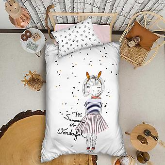 Organic %100 Cotton Duvet Cover Set Single Bed Linen Sheet Pillowcase For Kids Boy Girl