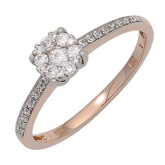 女子戒指 585 金红金白金双色 29 钻石辉煌