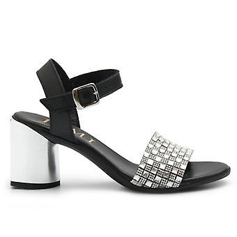 Jemi Silver and Black Sandals With Rhinestones and Medium Heel
