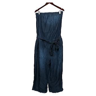 Colleen Lopez Jumpsuits Blue One-Piece Waist-Tie Cotton 718-389