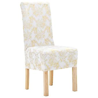 4 pcs. Stretch chair hussen Straight white with gold print