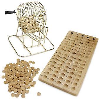 ヴィンテージ木製ビンゴゲーム6インチ真鍮ケージ
