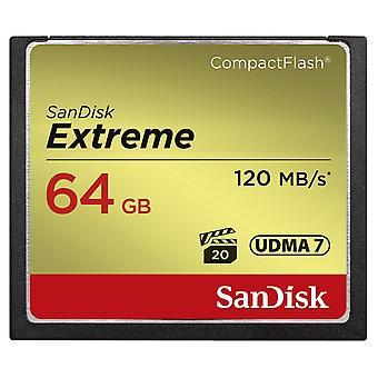 Sandisk extreme 64 gb udma7 compactflash card - black/gold standard packaging