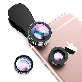 Mpow fisheye lens,3 in 1 clip-on 180 degree supreme fisheye lens + 0.65x wide angle lens + 10x macro