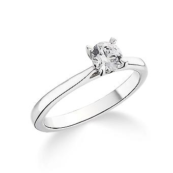 9K White Gold Tapered Shoulder 4 Claw Setting 0.35Ct Certified Solitaire Diamond Engagement Ring