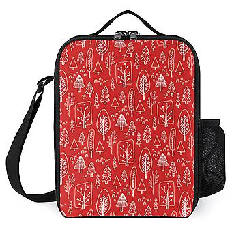 Red And White Christmas Symbols Pattern Printed Lunch Bags