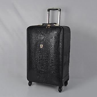Real Leather Crocodile Pattern Trolley Suitcase, Boarding Travel Luggage