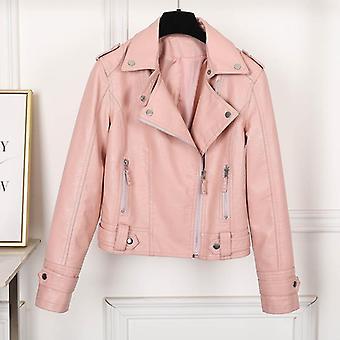Fashion Slim Faux Leather Biker Jackets Female Punk Streetwear Coat