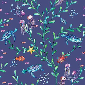 Under the Sea Navy Wallpaper