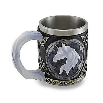 Unicórnio branco Tankard Tribal copo de café caneca bebendo