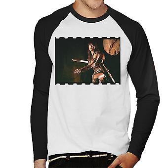 Xena Warrior Princess Fighting Men's Baseball Long Sleeved T-Shirt