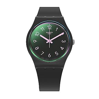 Swatch Gb330 La Night Groen en zwart siliconen horloge