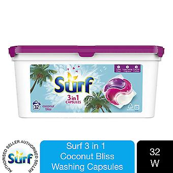 Surf Concentrated Coconut Bliss 3in1 Capsule detergenti biologiche 679g, 32W
