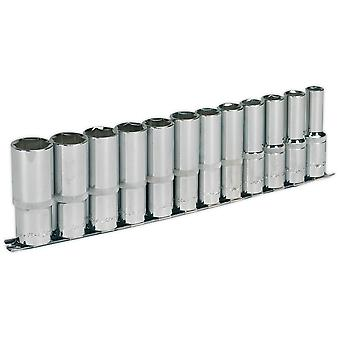 "Sealey AK2696 Socket Set 12pc 1/2""sq Drive Deep Walldrive Metric"