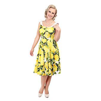 Collectif Vintage Women's Maddison Flared Lemon Print 1950's Dress