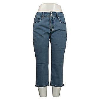 NYDJ Women's Petite Jeans Cool Embrace Skinny Crop Side Slit Blue A377691