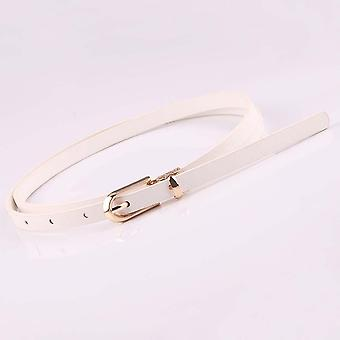 Women Faux Leather Belts Candy Color Thin Skinny Waistband Adjustable Belt
