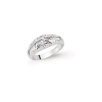 Jewelco London Boys Rhodium Plated Sterling Silver Cubic Zirconia Gypsy Carved Solitaire Ring