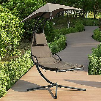 SoBuy OGS39-BR, Chaise longue flottante avec parasol Inclinable Swing Lounger Hanging Chair Sun Lounger
