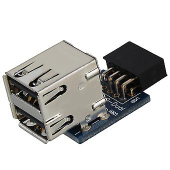 USB 2.0 9-Pin Header (2x5) to Double Layer Type USB A Female Port Adapter