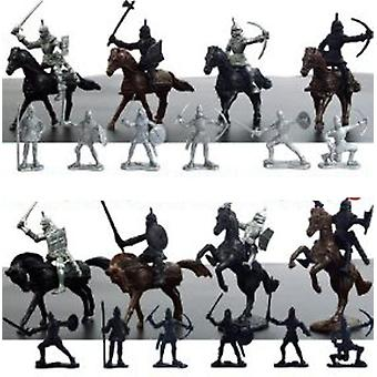 28pcs Medieval Knights Horses Soldiers Figures