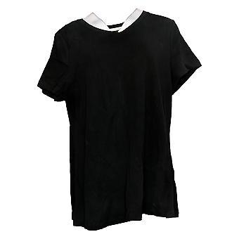 Isaac Mizrahi En direct! Women's Essentials Pima V-Neck T-Shirt Noir A380859