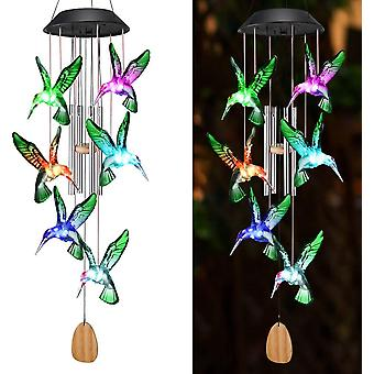 Kleur veranderende zonne-energie wind chime kristal bal kolibrie vlinder waterdichte outdoor windchime licht voor patio yard garde